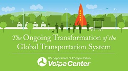 Logo of Volpe's 2017 speaker series, The Ongoing Transformation of the Global Transportation System