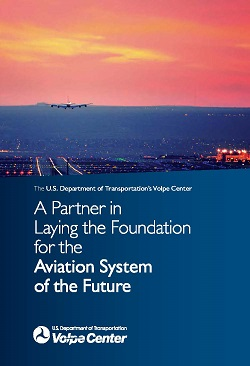 Cover of Volpe report on aviation showing an airplane landing against a setting sun