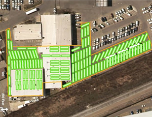 A satellite image of a bus yard using automated parking technology