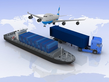 Different modes of transport moving loads of cargo on a background map of the world