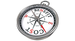 "The words ""cost"" and ""benefit"" on two different sides of a compass, with the compass needle pointing closest to the word ""cost."""