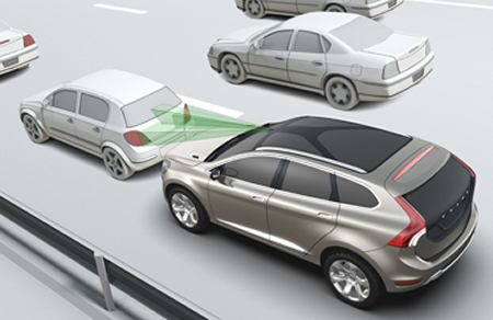 Illustration of a Volvo SUV utilizing crash-avoidance technology.
