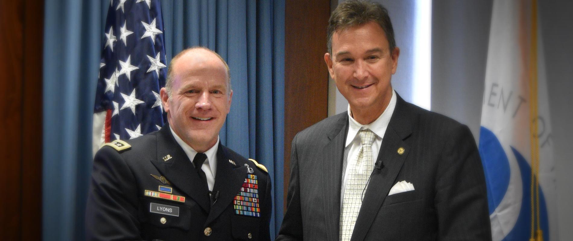 U.S. TRANSCOM Commander General Lyons and Joel Szabat