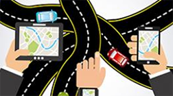 A graphic of business people holding various devices with GPS over a background of intersecting roads.
