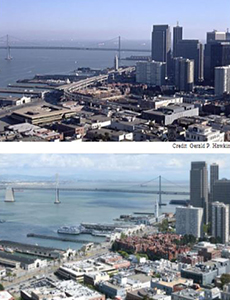 Two pictures, one of San Francisco with a raised highway, and a second San Francisco with a smaller higheway