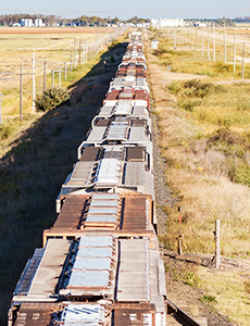 Row of train cars viewed from above