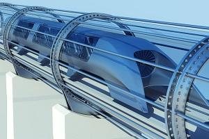 Concept image of intercity hyperloop travel.