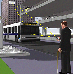 Image of man and a bus with vehicle-to-pedestrian (V2P) wireless communication.