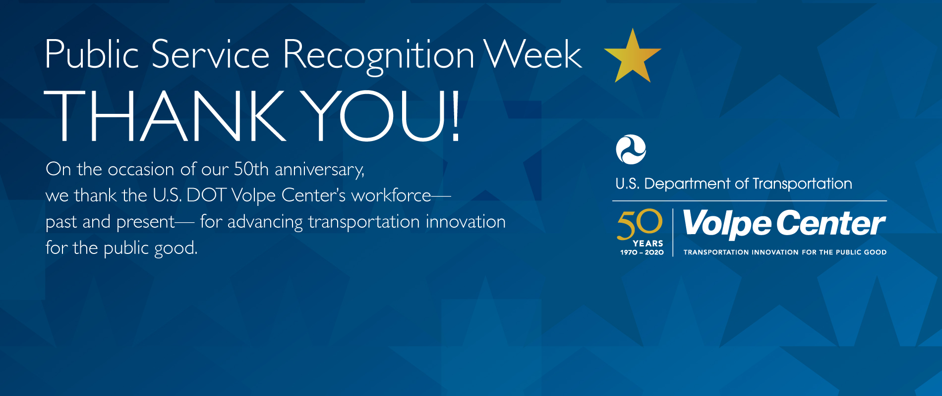 """Thank you"" sign for Public Service Recognition Week"