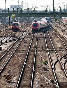 Trains in a rail yard