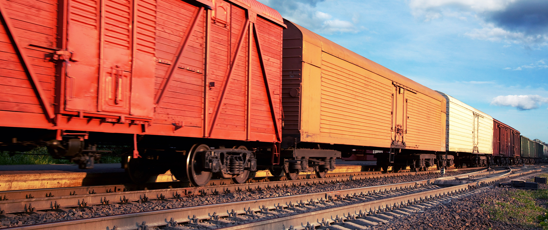 Freight train cars on railroad tracks