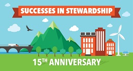 The banner image for the Successes in Stewardship newsletter, showing a bridge, mountain, city, and wind turbine on green grass.
