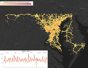 A map of Maryland with accidents visualized as yellow and orange dots.