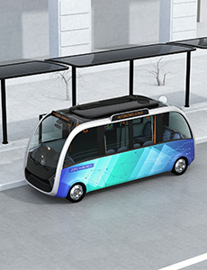 Illustration of an autonomous vehicle waiting at a station
