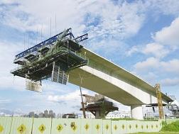 A bridge under construction.