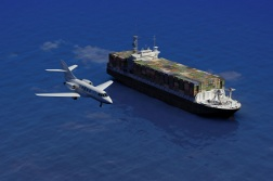 Concept image of a cargo ship and airplane.