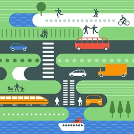 An illustration showing pedestrians accessing and moving around multiple different modes of transportation.
