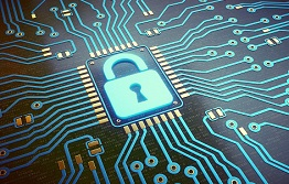 A graphic of a lock with a circuit board underneath, depicting cybersecurity.