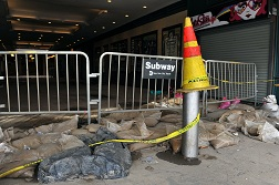 Storm damage in the subway at Coney Island in New York.