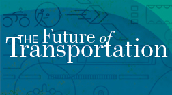 "A graphic promoting Volpe's speaker series, ""The Future of Transportation."""