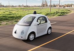 An image of a Google self-driving vehicle prototype.