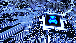 Circuit board displaying an image of a car at the center