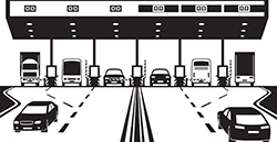 Illustration of a highway toll booth