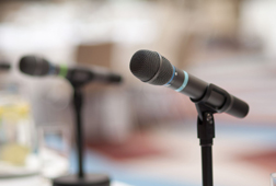 Microphones at a conference