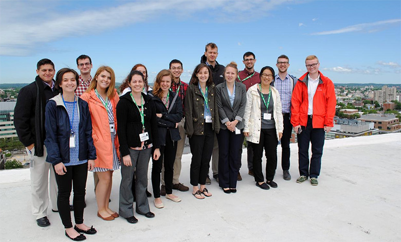 Group photo of Volpe student interns on the rooftop at the Volpe Center.