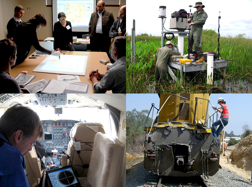 Photo collage showing Volpe staff at work in the office, in the field, in the cockpit of a plane, and on-site at a train crash.