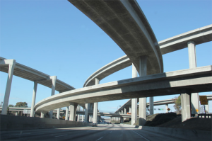 Multiple raised freeways, representing transportation infrastructure.