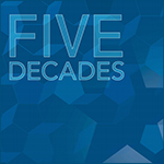 An illustration that says five decates