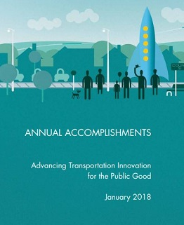 Cover page of the U.S. DOT Volpe Center's Annual Accomplishments brochure.