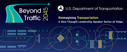 A graphic promoting the Reimagining Transportation speaker series.
