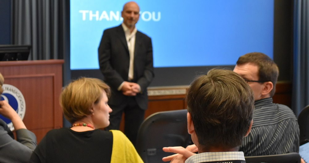 Jeffrey Schnapp answers a question from an audience member during his talk at the Volpe Center.