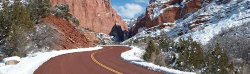 Roadway in Zion National Park in Utah