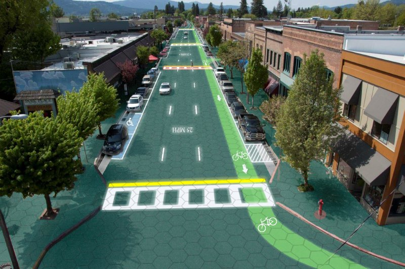 An artist's rendering of an everyday street where hexagonal solar panels have replaced traditional pavement.