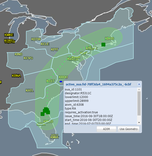 Screenshot of the NAS Common Reference interface showing data overlaid on a map of the U.S. East Coast.