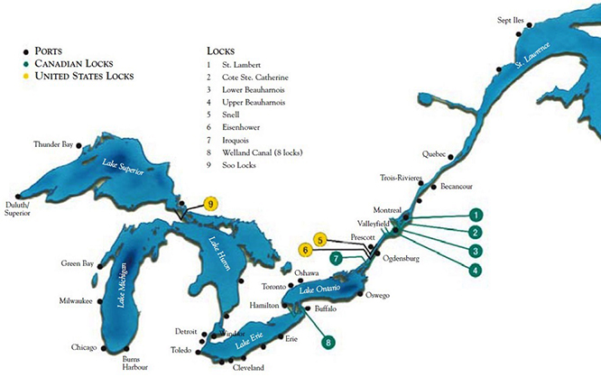 A map showing the St. Lawrence Seaway's major ports and locks in the U.S. and Canada.