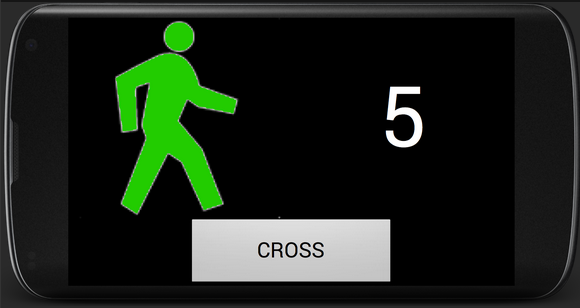 "A screenshot of SmartCross, with a green outline of a person next to a ""5"" and a ""cross"" button."