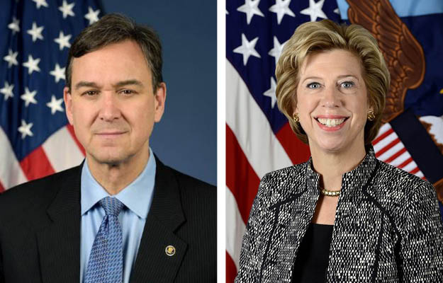 Portraits of Joel Szabat, Acting Under Secretary of Transportation, and Ellen M. Lord, Under Secretary of Defense for Acquisition and Sustainment.