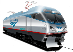 A graphic of an Amtrak Cities Sprinter train.