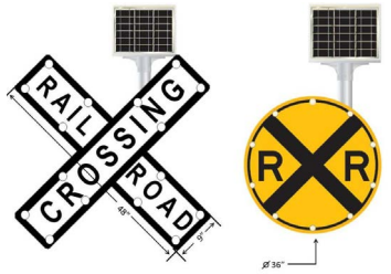 A diagram of two types of light-emitting diode railroad crossing warning signs.