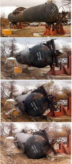 A series of photos showing atest scenario where a truck tender rolling off of a stand.