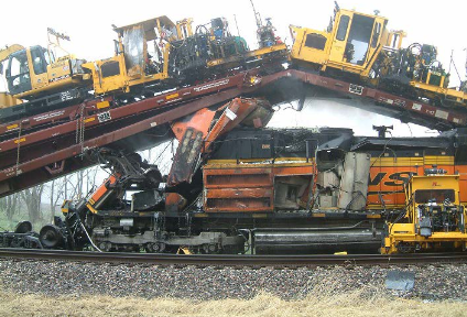 A photograph of a train collision in Red Oak, Iowa, on April 17, 2011.
