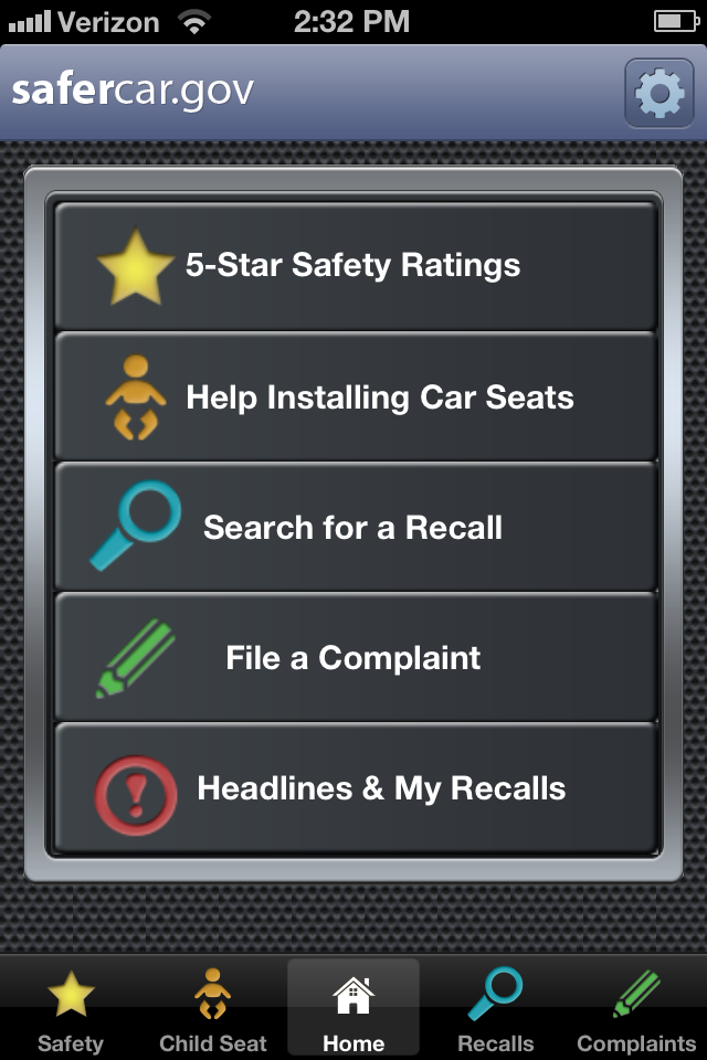Image of the SaferCar app on a phone screen