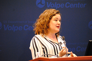 Laura Schewel speaks at the U.S. DOT Volpe Center