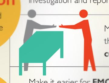 Graphic of two people shaking hands over a table from FMCSA infographic.