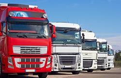 A parked fleet of heavy trucks